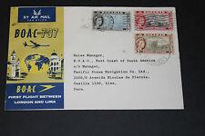 BOAC 1961 FIRST FLIGHT COVER BETWEEN LONDON LIMA ,PERU ADDRESS GB FRANKED