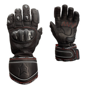 WOLF Titanium Outlast CE Waterproof Leather Motorcycle Gloves with Visor Wipe