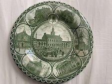 B & D Historical Pottery Green Plate Historical Philadelphia 10�