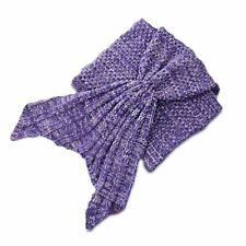 Mermaid Tail Blanket Knit Crochet for Toddler Baby,Whale Tail Purple 1T-3T
