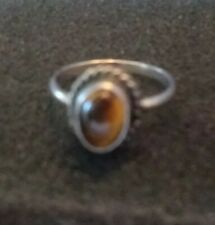Tigers Eye - size 3 Vintage Gemstone Silver Ring Brown