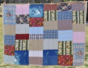 """Vintage Handcrafted Patchwork Quilt Throw Eclectic Multicolor Design 84"""" x 60"""""""