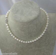 classica Collana in Perle bianche naturale ,girocollo, elegante da donna