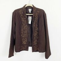 NEW Chicos Womens Blazer Jacket Embroidered Beaded Open Front Size XL Brown