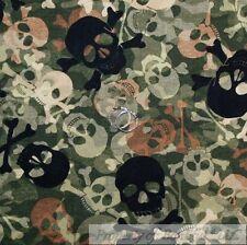 BonEful FABRIC FQ Cotton Quilt Green Camo Black Brown Skull Head Camouflage Boy