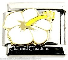 White Hibiscus Hawiian Flower 9mm Italian Charm Stainless Steel Modular Link