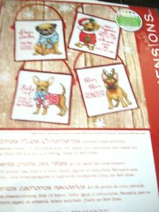 Christmas Pups Tree Ornaments Cross Stitch Kit (4 ornaments)