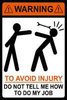 Metal Tin Sign warning funny poster avoid injury Decor Bar Pub Home Vintage Retr
