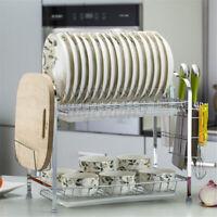 Large Capacity Dish Rack 2 Tiers w/Utensil Holder Drainer Drying Kitchen Basket