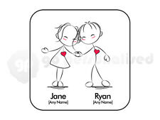 Personalised Love Square Coaster- Hand in Hand Couple Design- Valentine's Gift