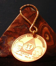 Alcoholics Anonymous AA 11 Month  Key Chain Token coin keychain bronze Medallion