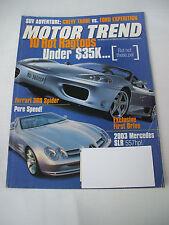 JUNE 2000 MOTOR TREND MAGAZINE FERRARI 360 SPIDER, '03 MERCEDES SLR  GENEVA AUTO