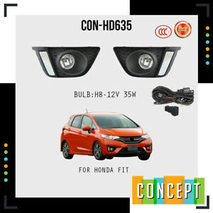 For 2014-2017 Honda Fit CHROME Fog Lights Lamps with Assembly Set L&R Side