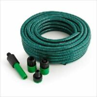NEW 15M 3 LAYER BRAIDED HEAVY DUTY REINFORCED GARDEN HOSEPIPE AND SPRAY NOZZLE