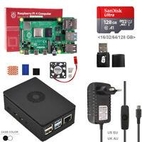 Raspberry Pi 4 Model B 4B DIY Kit with Fan Plastic Case + 5V 3A Power SD Card