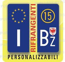 ADESIVI BLU RIFRANGENTI PER TARGA AUTO EUROPEA CON PROVINCIA E SIMBOLO BOLZANO