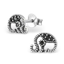 Childrens Girls Sterling Silver Cubic Zirconia Elephant Stud Earrings - Purse