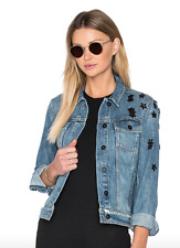 PAIGE Rowan Denim Jacket, Juniper Embellished, Size Small, New with Tags