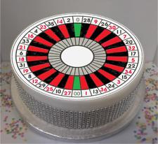 "Novelty Roulette Wheel 7.5"" Edible Icing Cake Topper birthday casino gambling"