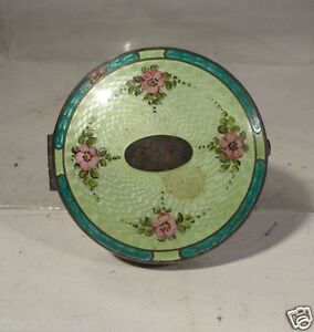 Antique Sterling Silver Guilloche Enamel Vanity Makeup Compact Mirror Makeup