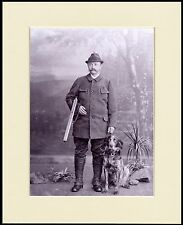 LARGE MUNSTERLANDER AND GENTLEMAN WITH A GUN DOG PHOTO PRINT READY TO FRAME