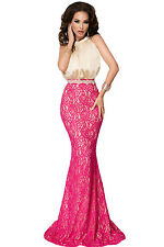New Ladies Pink Bow Tie High Neck Silk Lace Fishtail Evening Dress Size S