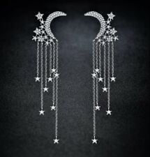 "Stunning Tiered Silver 3"" Waterfall Drop Dangle Moon & Stars CRYSTAL EARRINGS UK"