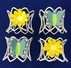 Unbranded White Wire Napkin Rings Lot of 4 Flowers Butterflies Party Picnic