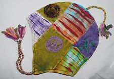 New Fair Trade Tie Dye Patchwork Cotton Hat - Hippy Ethnic Lined Hippie Boho