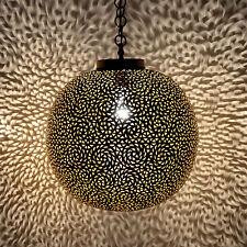 Orientalische Lampe aus Messing Marokkanische Hängeleuchte Hängelampe MKL D40cm