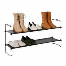 Tidy Living - Stackable Shoe Rack Gray - Two Tier Storage Organizer