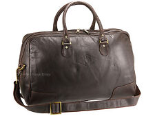 Primehide Leather Travel Holdall Weekend Gym Bag Hand Luggage - Elpaso 722 Brown