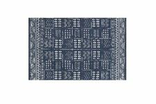 2' x 3' Indigo Blue and White Batik Pattern Printed Cotton Small Rug, Carpet or