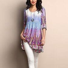 Women Loose Long Sleeve Cotton Casual Blouse Shirt Tunic Tops Fashion Blouse