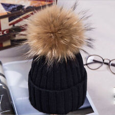 Women Ladies Winter Warm Wool Knit Crochet Fur Pom Bobble Beanie Hat Ski Cap