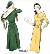 V9346 Sewing Pattern Vtg 1940's Dress Yoke Back Tack Details Vogue 9346 Sz14-22*