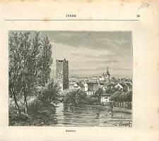 Issoudun La Tour Blanche Indre FRANCE GRAVURE ANTIQUE OLD PRINT 1882