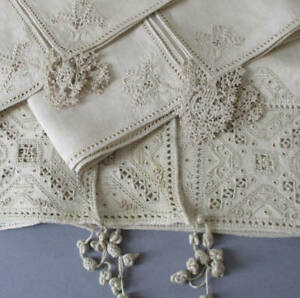 4Pcs Antique HM ITALIAN Ecru Linen Punto Umbro Needle Lace w Openwork + TASSELS