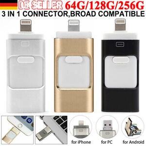 256GB i Flash Drive USB-Stick 2.0 Memory Stick 3 in 1 für Android IOS PC iPhone