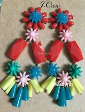 NWT J.Crew  MULTI COLOR FLOWER-AND-BEAD CHANDELIER EARRINGS! Sold Out! Orig $65