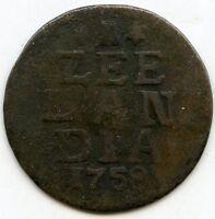 Netherlands 1758 Coin - Zee Lan Dia - AD208