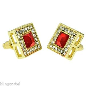 Red Ruby Hip Hop Earrings Faux Stone 13 MM Square Gold Tone Iced Men Blinged