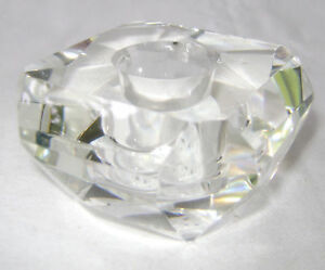 NEW BEAUTIFUL CUT GLASS FACETED FLAT SQUARE CANDLE STICK HOLDER SIL CH4526