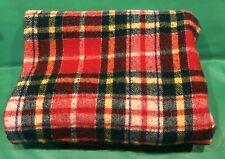 New listing Vintage blanket throw plaid green red Yellow Blue 81�x83� outdoor camping