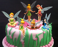 6 pcs Lot Tinker Bell Fairy Princess Girl Cake Toppers Ornaments Decoration