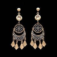 2CT Bezel Created Diamond Chandelier Ball Stud Dangle Earrings 14k Two-Tone Gold