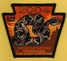 PA Pennsylvania Fish Commission NEW 2004 Black Phase Timber Rattlesnake patch