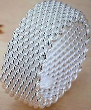 Sterling Silver Woven Mesh Ring Size 10