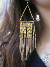 Massive 15.5cm long seed bead chandelier earrings with tassel
