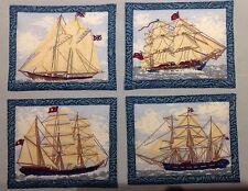 "Coasters Mug Rugs Schooner With Sails Handmade 4""x 5"" 100%cotton Set Of 4"